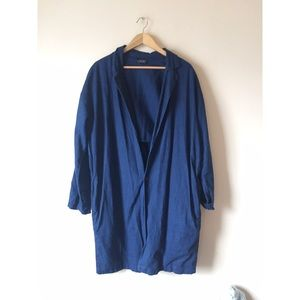 Zara linen ink blue jacket